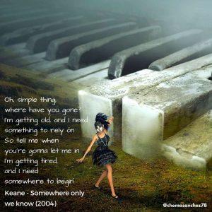 Tip de instagram de la canción Somwhere only we know, del Hopes and Fears, de Keane