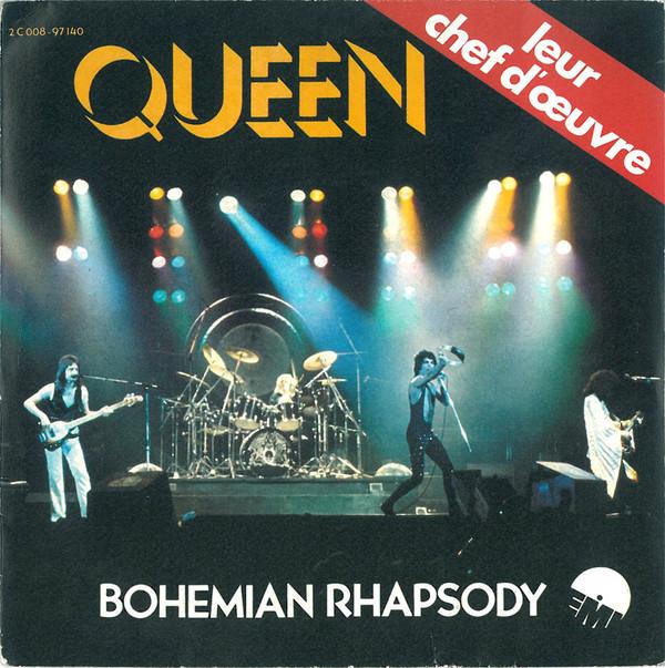 Formato de single de Bohemian Rhapsody, con portada de un concierto