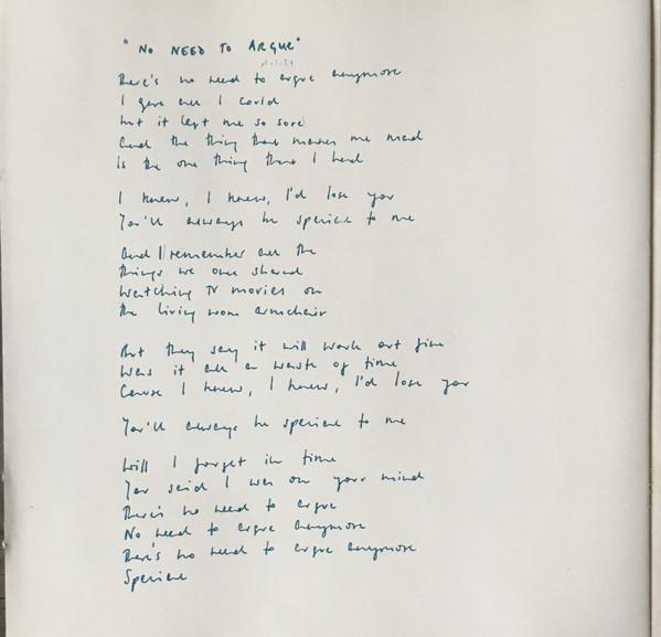 Letra de la canción No need to argue