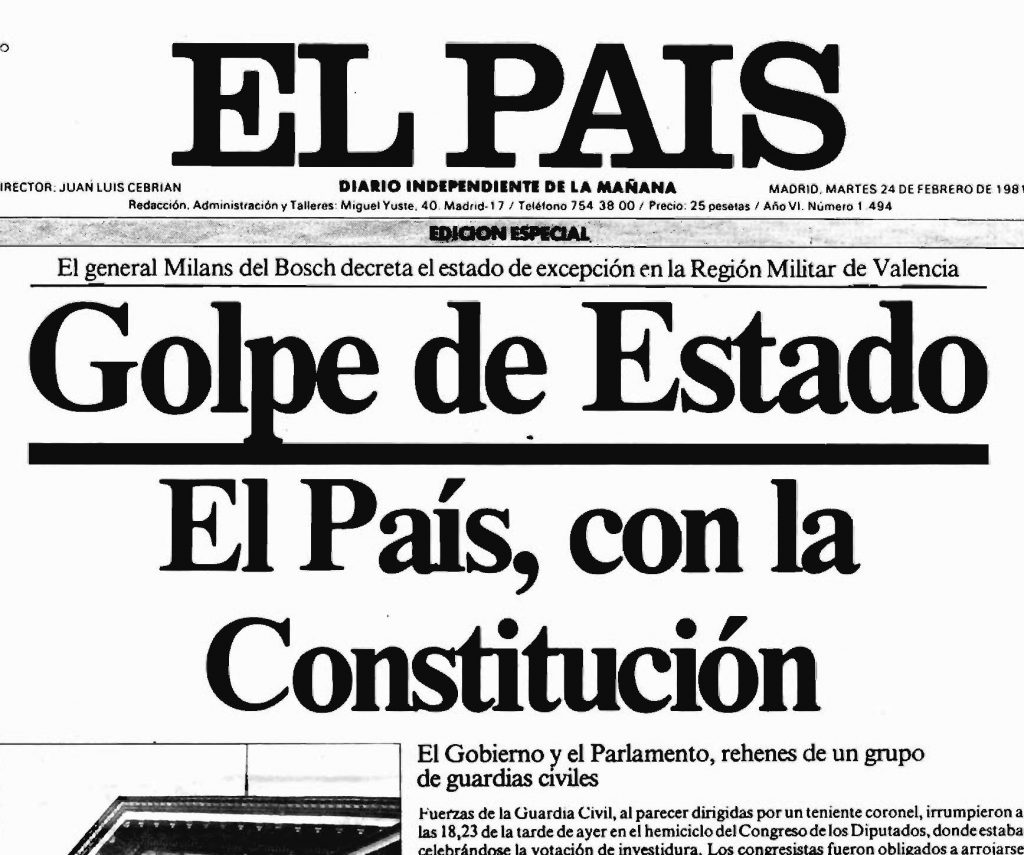 Portada de El País del 24 de febrero de 1981