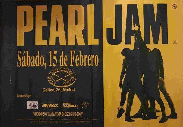 Cartel del concierto de Pearl Jam