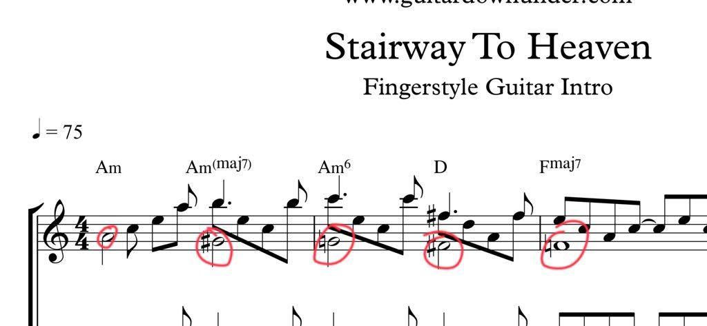 pentagrama de Stairway to heaven, de Led Zeppeling