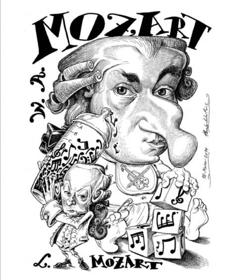 Caricatura de Mozart
