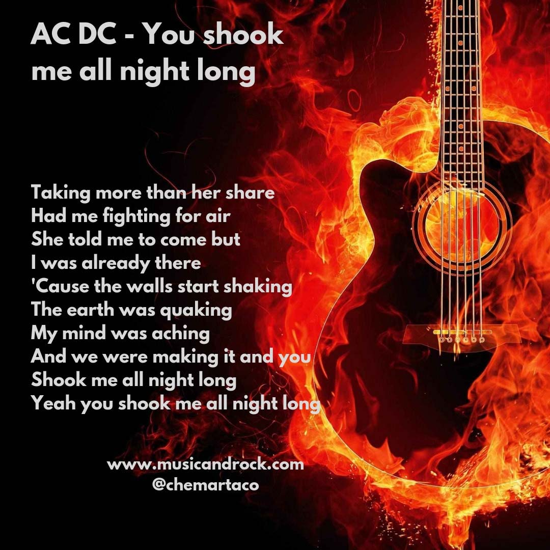 Letra de You shook me all night