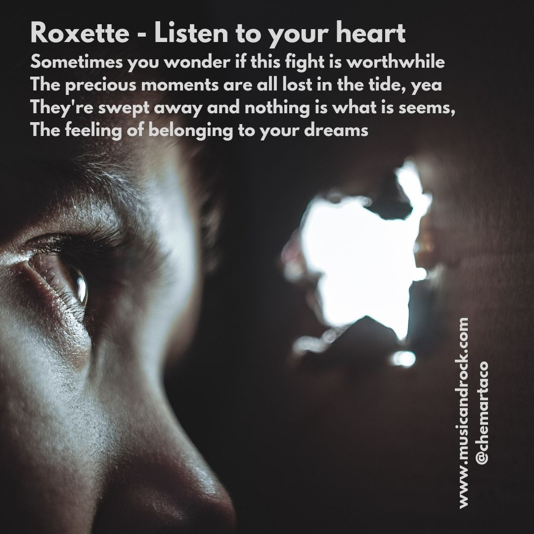 Imagen para instagram de Listen to your heart, de Roxette