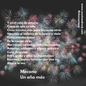 Mecano - Letra Un año más Tip instagram