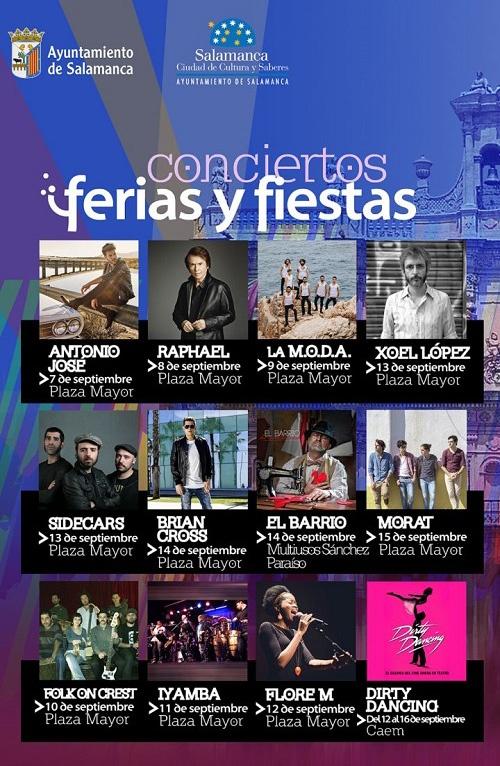Cartel con los conciertos de las Ferias de Salamanca 2018