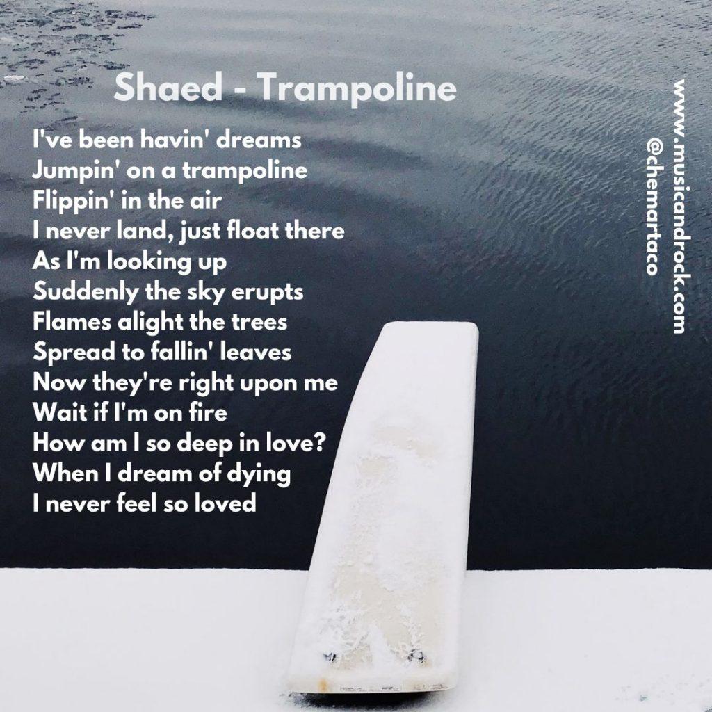 Tip de instagram con la letra de Trampoline, de Shaed