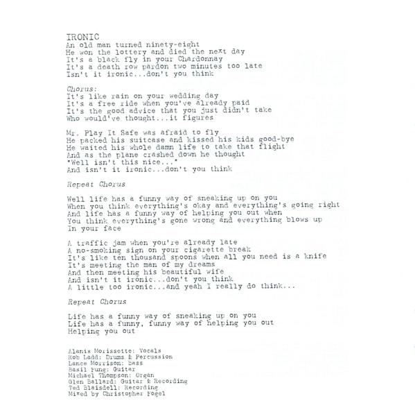 Letra de la canción Ironic