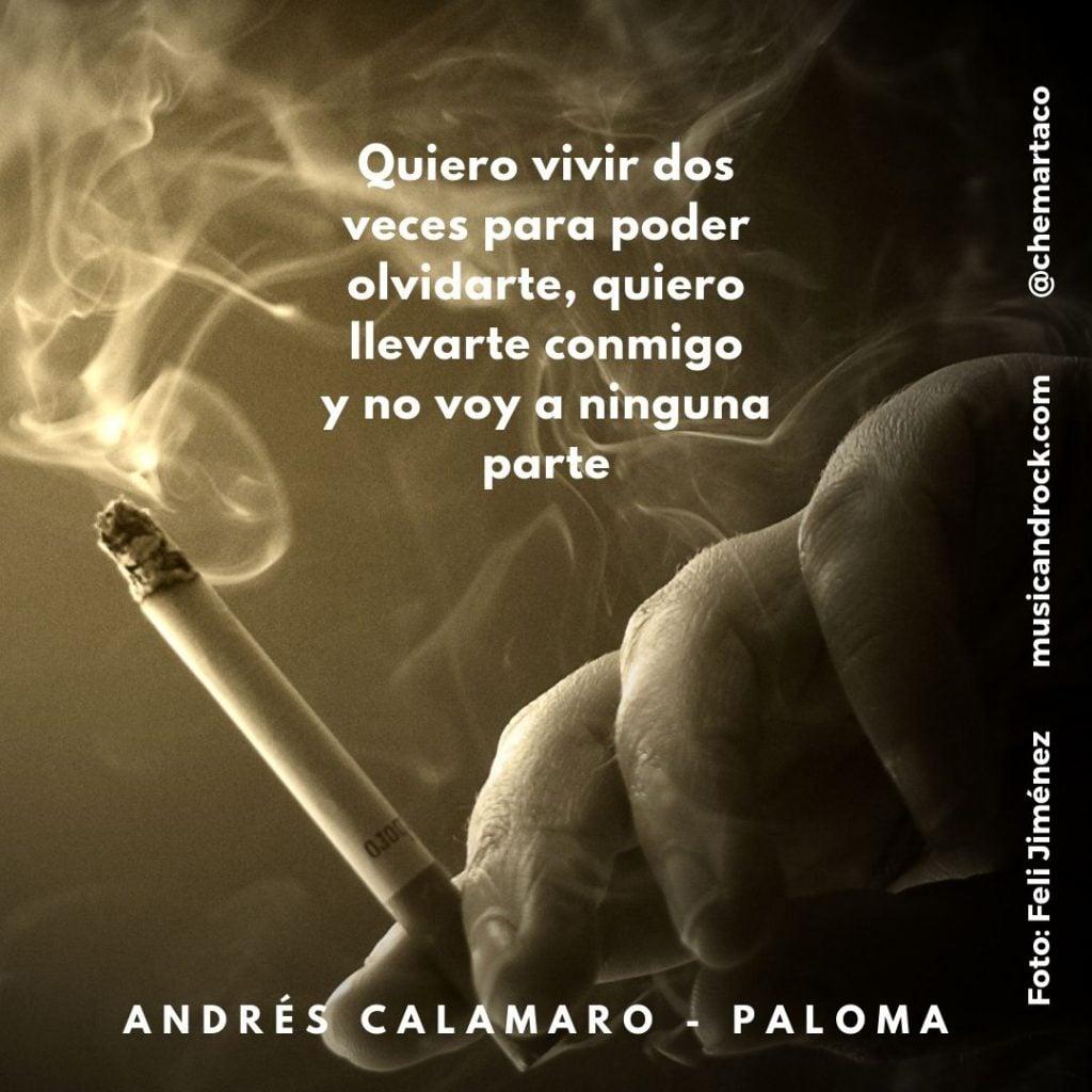 Letra de Paloma, canción de Andrés Calamaro. Fotografía de Feli Jiménez
