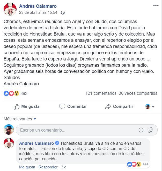 Calamaro anuncia ediciones especiales de Honestidad Brutal en FB, que es lo que se lleva ahora