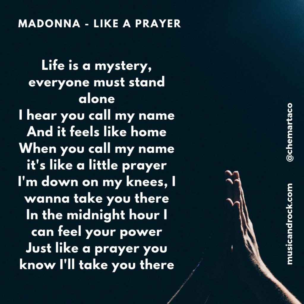 Tip letra Madonna Like a prayer