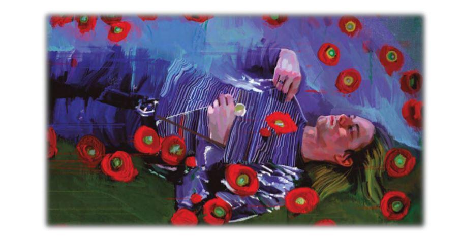 Kurt Cobain en una de las ilustraciones del libro
