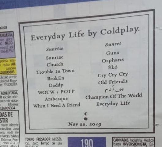 Publicidad en periódicos del nuevo disco de Coldplay