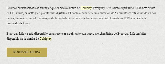Mensaje email Coldplay