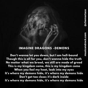 Tip instagram Letra Imagine Dragons