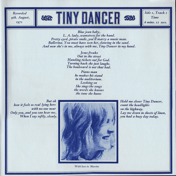 Letra de Tiny Dancer y dedicatoria a Maxine