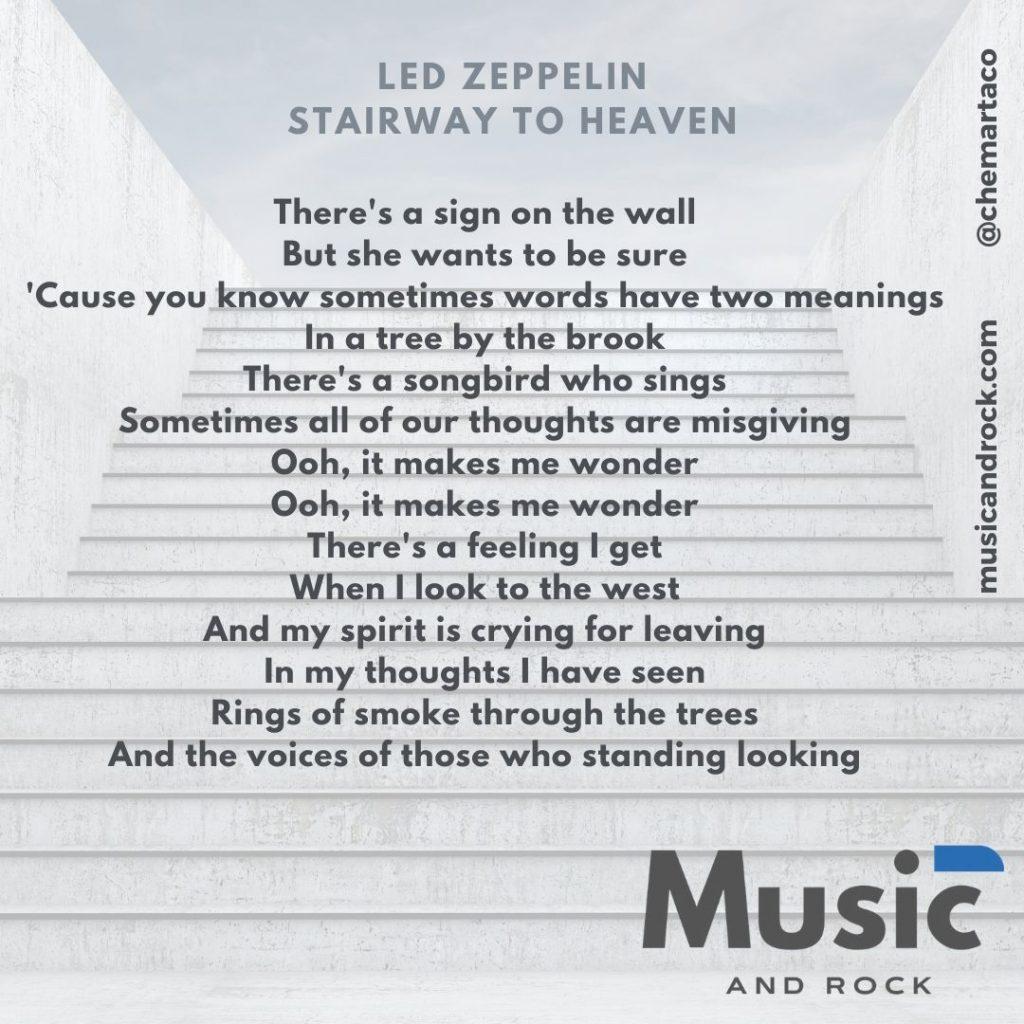 Letra de Stairway to heaven. Tip instagram