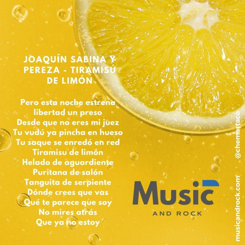 Tip instagram Letra Joaquín Sabina y Pereza - Tiramisú de limón