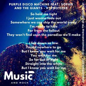 Letras de Hypnotized de Purple Disco Machine y Sophie and the giants